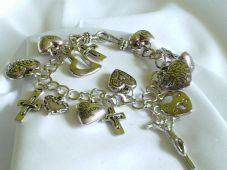 Heart and cross charm bracelet